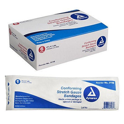 Dynarex Stretch Gauze Bandages, Sterile, 6 x 4.1 yards, 48/cs