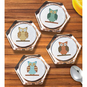 Janlynn Owl Coaster Set Counted Cross Stitch Kit- Hexagon 18 Count Set Of 4
