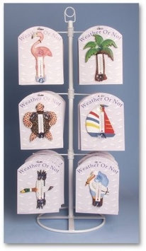 Songbird Essentials Tabletop Display for Small Window Thermometers or Single Wallhooks - holds 12 styles