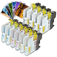 LD Brother Compatible LC61 Bulk Set of 10 Ink Cartridges: 4 Black LC61BK & 2 each of Cyan LC61C / Magenta LC61M / Yellow LC61Y + Free 4x6 Photo Paper