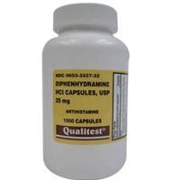 Qualitest Diphenhydramine HCI 25 Mg Allergy Medicine and Antihistamine Compare - 1000 Capsules