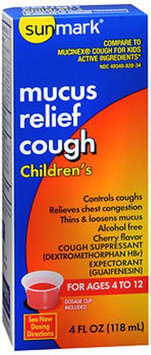 Sunmark Childrens Mucus Cough Relief, Cherry Flavor 4 oz by Sunmark