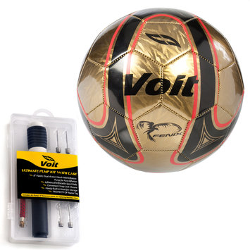 Lion Sports Voit Size 5 Fenix Soccer Ball with Ultimate Inflating Kit - Gold and Black Graphic with Red Accents