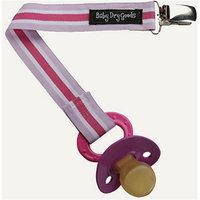 Baby Dry Goods 03031 PinkPurpleWhite Stripes Pacifier Clip