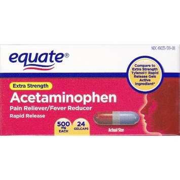 Equate - Pain Reliever, Rapid Release Gels Acetaminophen 500 mg, 24 Gelcaps (Comprate to Tylenol)