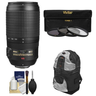Nikon 70-300mm f/4.5-5.6 G VR AF-S ED-IF Zoom-Nikkor Lens with Sling Backpack + 3 UV/ND8/CPL Filters + Kit for D3100, D3200, D3300, D5100, D5200, D5300, D7000, D7100, D610, D800, D4 DSLR Cameras