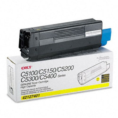 Okidata Corporation 42127401 Toner Cartridge, High-Yield, Yellow