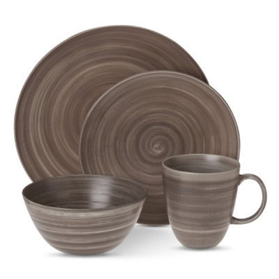 Threshold Porcelain Round 16 Piece Dinnerware Set - Grey