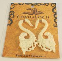 Earring Split Expander Bone White Coco Loco 1 Pair Earring