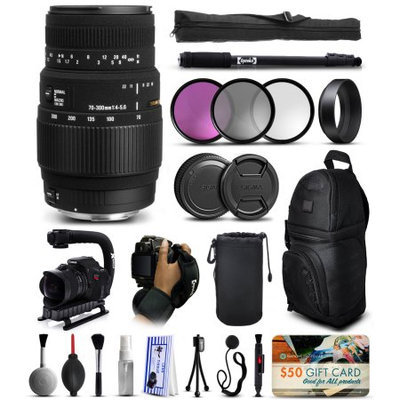 47th Street Photo Sigma 70-300mm F4-5.6 DG Macro Lens for Sony (509205) with Deluxe Accessories Package includes 3 Piece Filter Set (UV-CPL-FLD) + Stabilizer Handle + Sling Backpack + 67 Monopod + Wrist Strap + Cleaning Kit + Air Dust Blower + $50 Prints Gift Card