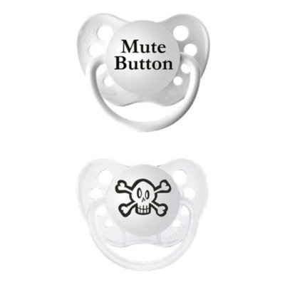 ulubulu 2pk Pacifiers Skull/Mute Button