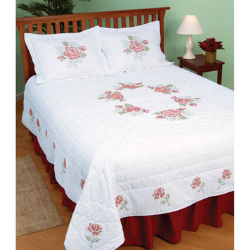 Jack Dempsey Inc. Jack Dempsey XX Roses Stamped White Quilt Top