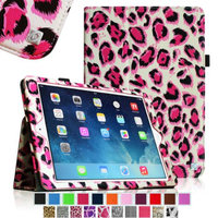 iPad Air 2 Case [Corner Protection] - Fintie Slim Fit Leather Folio Case with Auto Sleep / Wake Feature, Leopard Pink