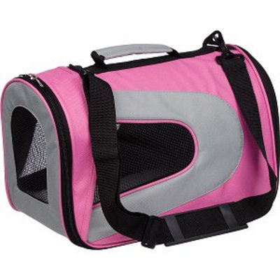 Pet Life Folding Zippered Sporty Mesh Carrier, Small, Pink and Grey, 1 ea
