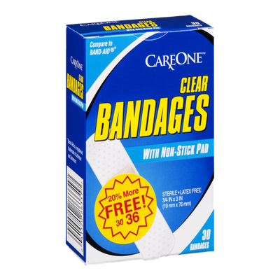 Care One Bandages Clear With Non-Stick Pad - 30 CT