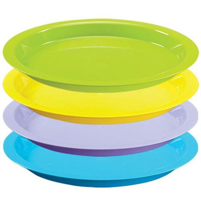 Party Dimensions 68244 12 in. Vibrant Assorted Plastic Round Trays - 25 Per Case