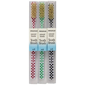 Swissco Tooth Brush Checks Natural Bristle Soft, 3-Count Pack