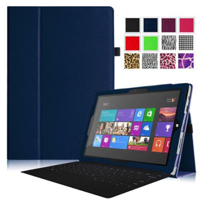 Fintie Folio Slim-Fit PU Leather Stand Cover with Stylus Holder for Microsoft Surface Pro 3 12-inch Tablet, Navy
