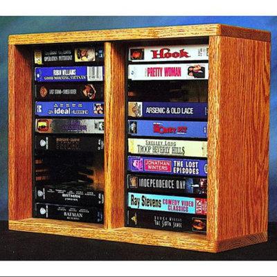 Wood Shed Desktop VHS Storage w Individual Locking Slots (Honey Oak)