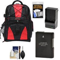Precision Design Multi-Use Laptop/Tablet Digital SLR Camera Backpack Case (Black/Red) with EN-EL14 Battery & Charger + Accessory Kit for Nikon D3100, D3200, D5100 & D5200