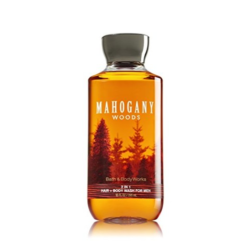 Bath & Body Works Bath and Body Works Mahogany Woods 2 in 1 Men's Hair + Body Wash 10 Oz [Mahogany Woods, Shower Gel]