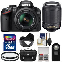 Nikon D3200 Digital SLR Camera & 18-55mm G VR DX AF-S Zoom Lens (Black) with 55-200mm VR Lens + 16GB Card + Case + Filters + Remote + Accessory Kit