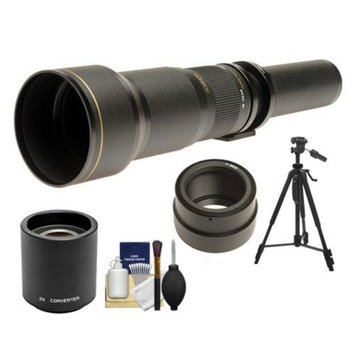 Rokinon 650-1300mm f/8-16 Telephoto Lens & 2x Teleconverter (= 650-2600mm) with Tripod + Cleaning Kit for Sony Alpha NEX-C3, NEX-F3, NEX-5, NEX-5N, NEX-7 Digital Cameras