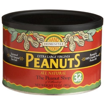 The Peanut Shop of Williamsburg All Natural Homestyle Peanuts with Sea Salt, 32-Ounce Tins (Pack of 2)
