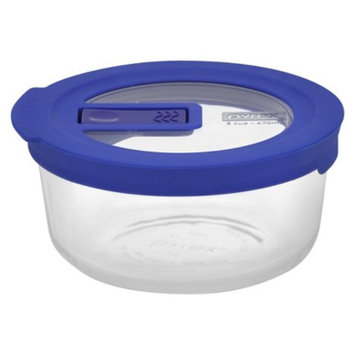 Pyrex No Leak Clear 2-cup Round with blue cover