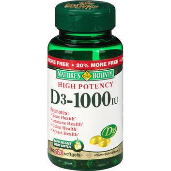 Nature's Bounty High Potency D3-1000 IU Vitamin Supplement Softgels