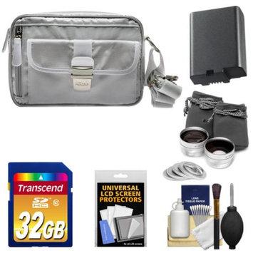 Nikon 1 Series Deluxe Digital Camera Case (Gray) with 32GB Card + EN-EL21 Battery + Tele/Wide Lenses + Accessory Kit for V2
