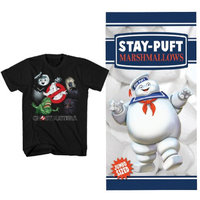 Johnson Smith (Set) Ghostbusters Stay Puft Marshmallow Beach Towel & Movie Ghoul Tee -LG