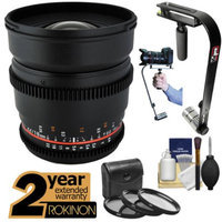 Rokinon 16mm T/2.2 Cine Wide Angle Lens with 2 Year Ext. Warranty + Steadycam + 3 Filters Kit for Olympus Micro 4/3 OM-D/PEN & Panasonic Lumix Cameras