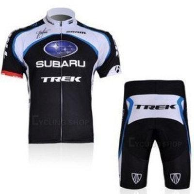 Mick cycling jersey 2011 SUBARU TREK Short Sleeve BlackWhite Cycling Jersey Cycling Wear + Short(available Size:S, M, L, Xl, Xxl,XXXL)