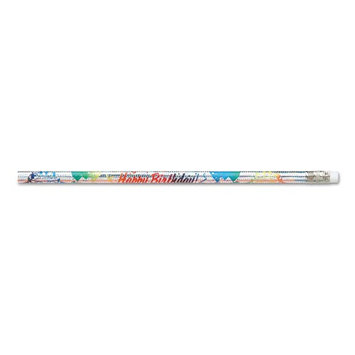 Moon Products Decorated Wood Pencil, Happy Birthday From Your Teacher, HB#2,Silver Holographic