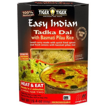 Tiger Tiger Easy Indian Heat & Eat, Tadka Dal with Basmati Pilau Rice, 19.4-Ounce Boxes (Pack of 6)