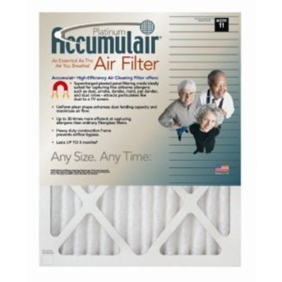 12x27x1 (Actual Size) Accumulair Platinum 1-Inch Filter (MERV 11) (4 Pack)