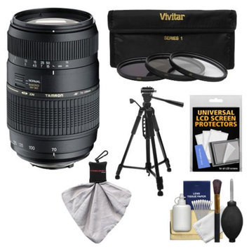 Tamron 70-300mm f/4-5.6 Di LD Macro 1:2 Zoom Lens with 3 UV/CPL/ND8 Filters + Tripod + Accessory Kit for Sony Alpha DSLR SLT-A37, A57, A58, A65, A77, A99 Digital SLR Cameras