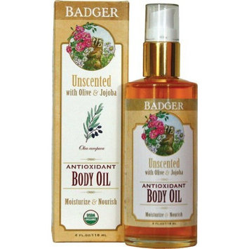 Badger Unscented Antioxidant Body Oil - 4 oz.