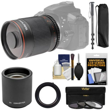 Vivitar 500mm f/8.0 Mirror Lens with 2x Teleconverter (=1000mm) + Monopod + 3 Filters Kit for Sony Alpha A57, A58, A65, A77 II, A99 Digital Camera