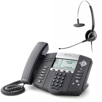 Polycom 2200-12550-001 w/ Corded Headset VoIP Corded Phone with Included Headset