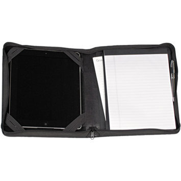 Samsill iPad Zipper Composition Pad Holder, Black Leather