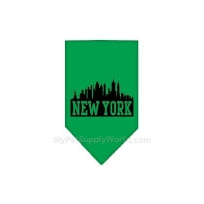 Mirage Pet Products 6675 LGEG New York Skyline Screen Print Bandana Emerald Green Large