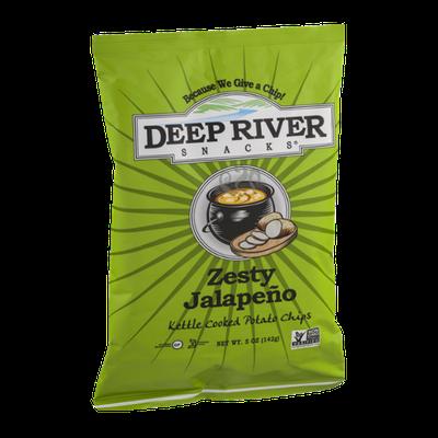 Deep River Snacks Kettle Cooked Potato Chips Zesty Jalapeno