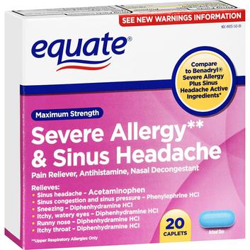 Equate : Severe Allergy & Sinus Headache Maximum Strength Caplets Antihistamine