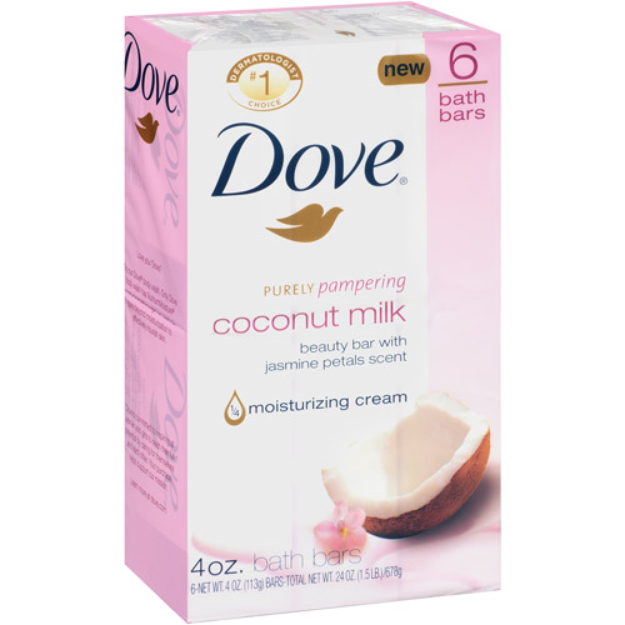 Dove Purely Pampering Beauty Bar, Coconut with Jasmine Petals, 6 ea