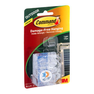 3M Command Brand Damage-Free Hanging Light Clips 16-Clips 20-Small Outdoor Strips - 36 CT