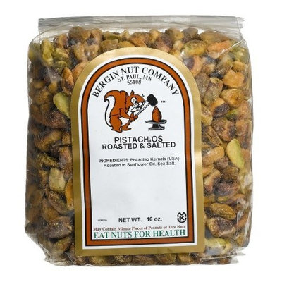Bergin Nut Company Pistachio Kernals, Roasted Salted, 16-Ounce Bags (Pack of 4)