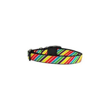 Ahi Striped Rainbow Nylon Ribbon Collars Medium