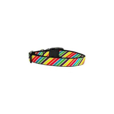 Ahi Striped Rainbow Nylon Ribbon Collars Medium